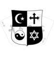 stencil of shield and religious symbols vector image
