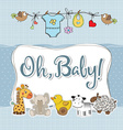baby boy shower card with animals vector image