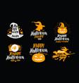 halloween set of icons or symbols handwritten vector image