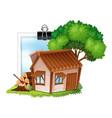 Wooden cottage on photoframe vector image