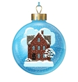 Winter card design with house and trees on ball vector image vector image