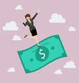 Business woman standing on a flying money