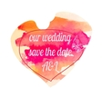 Invitation card for wedding with watercolor heart vector image