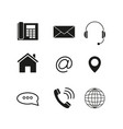 contacts set icons vector image