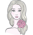elegant line art of a beautiful young woman with vector image
