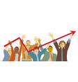happy team group people chart vector image