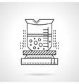 Heated beaker flat line icon vector image