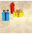 Holiday card with three gift boxes with bows on vector image
