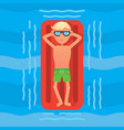 man swimming in sea on red air mattress top view vector image