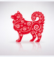 stylized red dog with ornament vector image