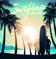 Surfing at Sunrise with a longboard surfer vector image
