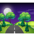 Scene with empty road at night vector image