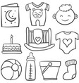 doodle of baby theme with toy cake vector image