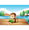 A monkey reading a book sitting at the port vector image vector image