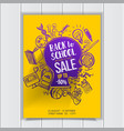 back to school sale on kids contour poster vector image