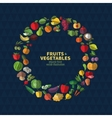 Set of fruits and vegetables icons vector image