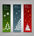Christmas banner with abstract colorful trees vector image