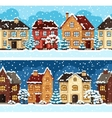 Winter urban landscape pattern with houses and vector image