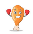 boxing fried chicken character cartoon vector image