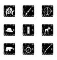 Hunting icons set grunge style vector image