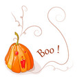 pumpkin boo with red eyes vector image