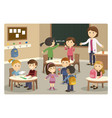 pupils and teacher starting class at school vector image