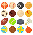 sport balls icons set play types cartoon style vector image