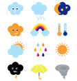 Weather cast cute elements set isolated on white vector image