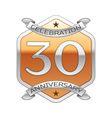 Thirty years anniversary celebration silver logo vector image