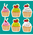 set of stickers cupcakes seed color and chocolate  vector image