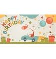 Happy birthday card with giraffe vector image vector image