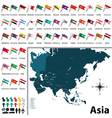 Asian political map with flags vector image vector image