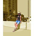 cartoon woman in a cowboy hat among high rise vector image
