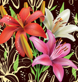 Seamless floral pattern with lilies vector image vector image