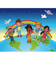 Children on the world vector image