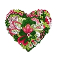 Doodle summer flowers in heart shape vector image