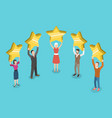 five stars rating flat isometric concept vector image