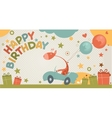 Happy birthday card with giraffe vector image