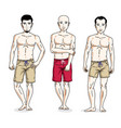 happy men posing with athletic body wearing beach vector image