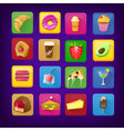 Set of icons with food and drinks for restaurant vector image