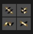 set of minimal geometric striped shapes trendy vector image
