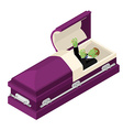 Zombie in coffin Green dead man lying in wooden vector image