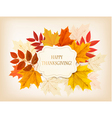 Happy Thanksgiving background with colorful autumn vector image