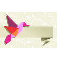 Origami hummingbird floral background vector image