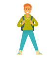 cheerful man with backpack vector image