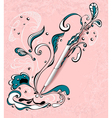 Pen with abstract drawing on grunge light pink vector image vector image