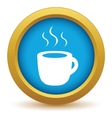 Gold cup of coffee icon vector image