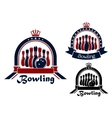 Bowling symbol or emblem in round frame vector image vector image