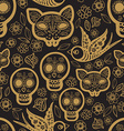 Gold seamless pattern Day of the Dead vector image