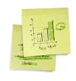 sucessful business graph on sticky paper realistic vector image